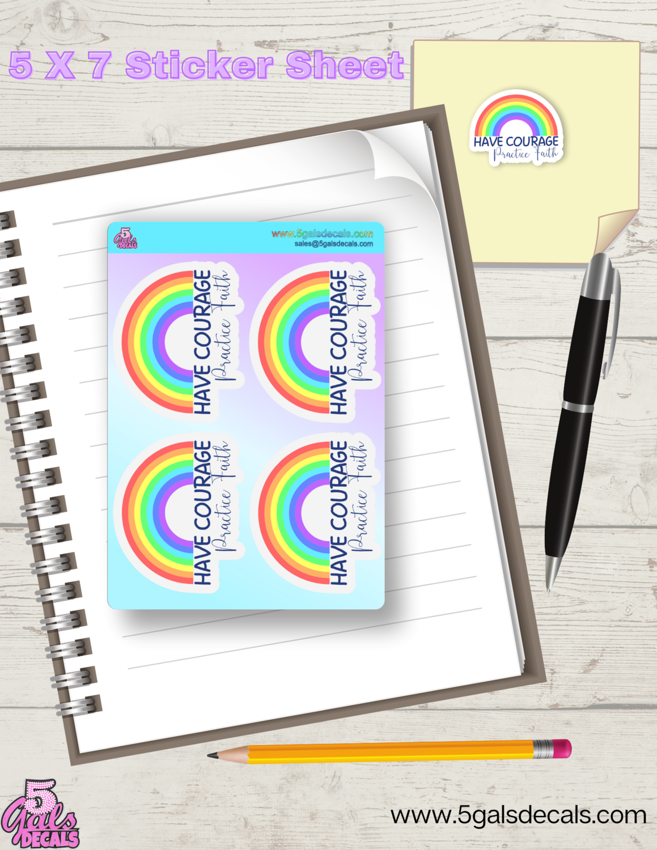 Courage/faith 5x7 Sticker Sheet