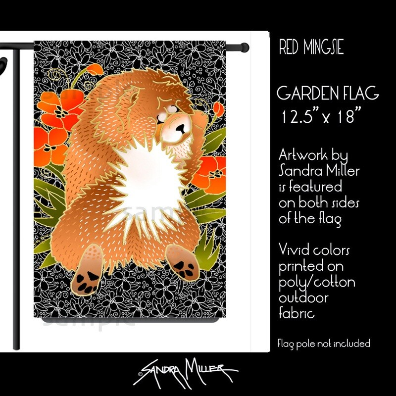 BINDI MINGSIE Red Chow Art Flags in 2 sizes