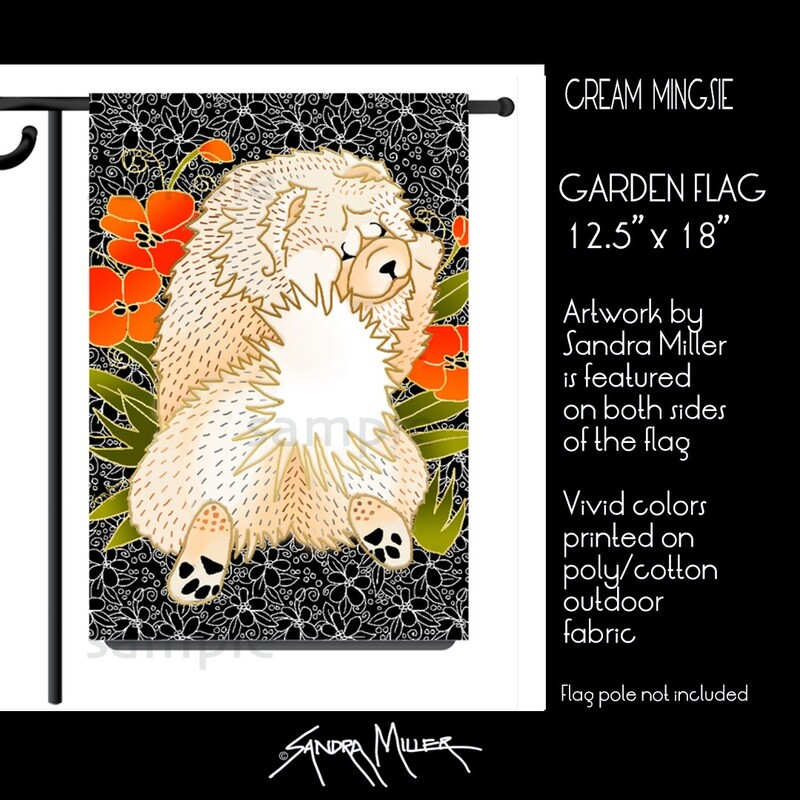 BINDI MINGSIE Cream Chow Art Flags in 2 sizes