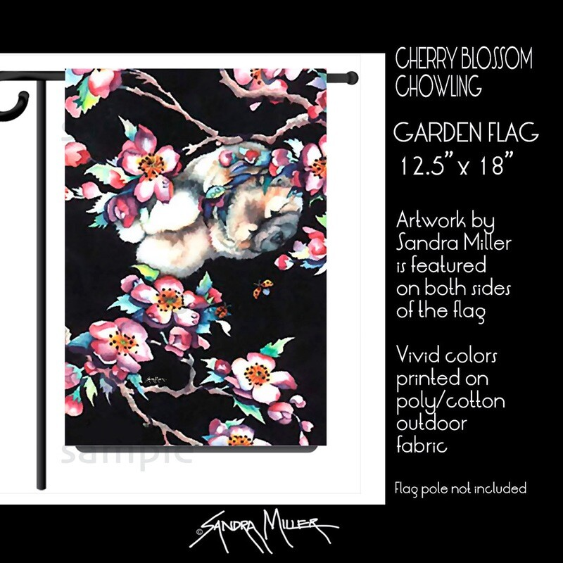 CHERRY BLOSSOM Chow Art Flags in 2 sizes