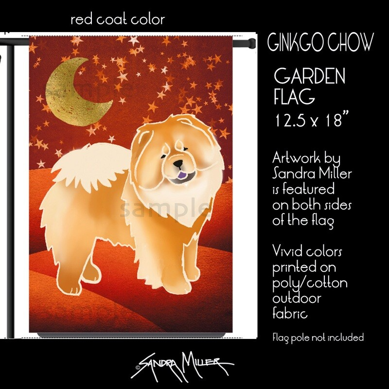 GINKGO  Chow Art Flags in 2 sizes -3 COAT COLORS