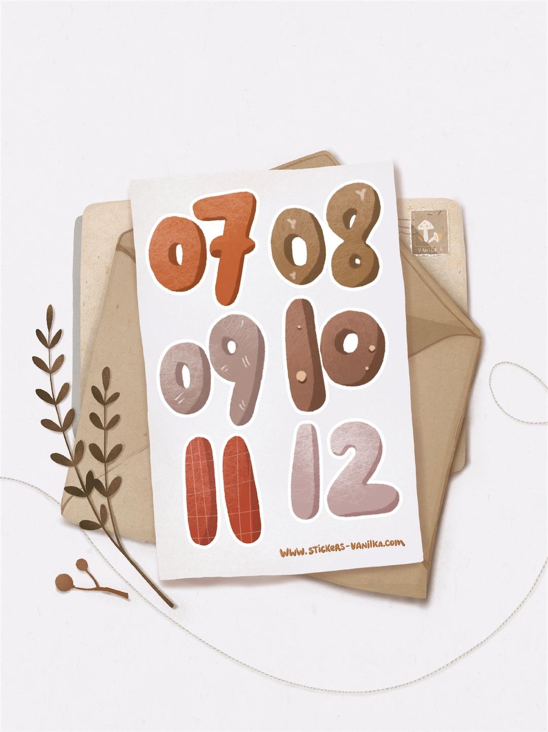 """Stickers """"Числа 7-12"""""""