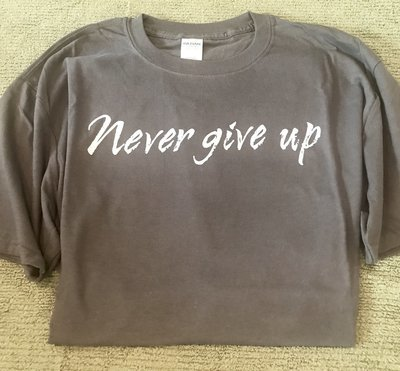 Never give up T-shirt - Heather Navy
