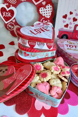 Valentine's Day Spritz Cookie Tins 4 Dozen