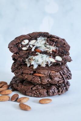 Coconut Stuffed Almond Double Chocolate Cookies
