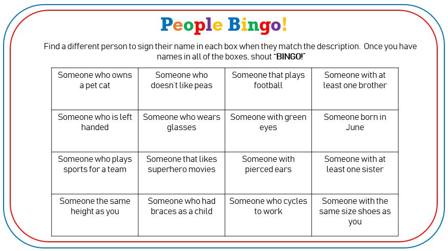 10 Laminated People Bingo Icebreaker