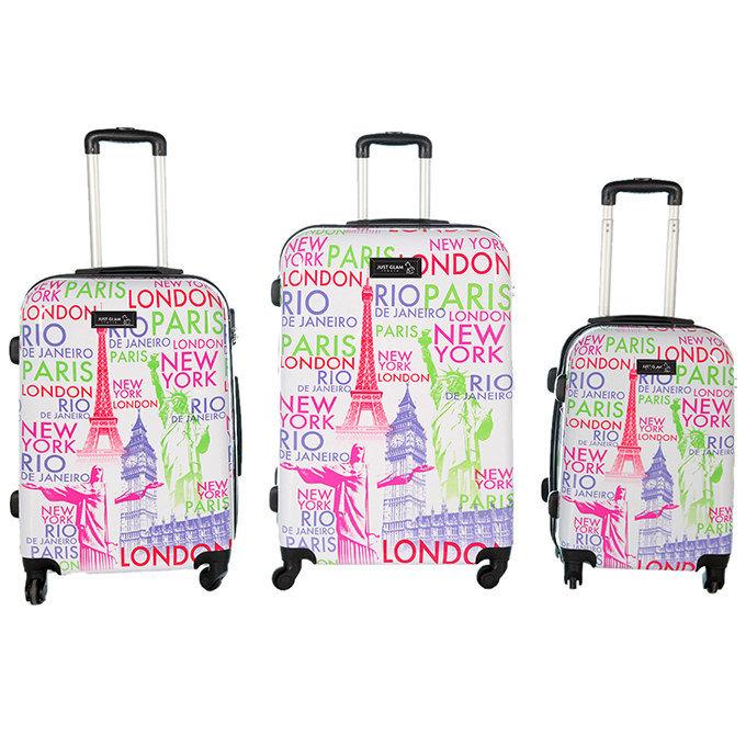Set 3 valigie in abs leggero c/4 ruote fantasia nomi capitali bianco