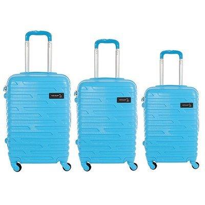 Set 3 valigie in abs leggero c/4 ruote celeste