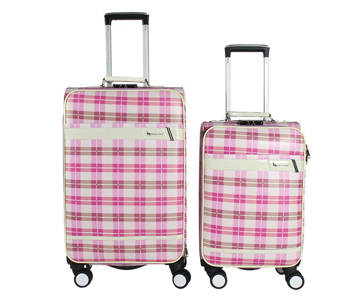 Coppia di 2 trolley in finta pelle c/4 ruote piroettanti  var.2