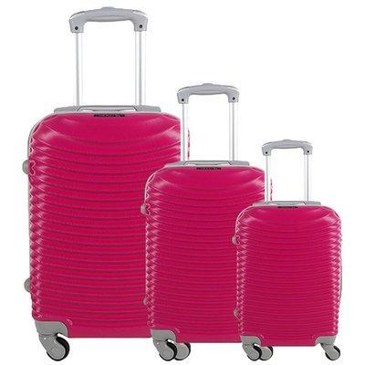 Set 3 valigie in abs leggero c/4 ruote fuxia