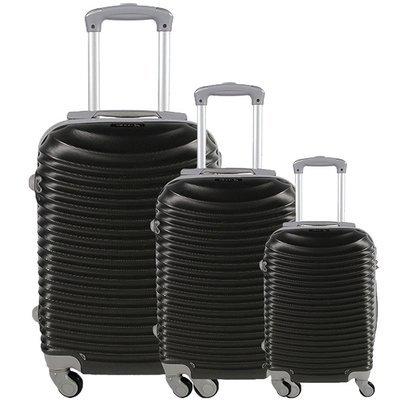 Set 3 valigie in abs leggero c/4 ruote nero