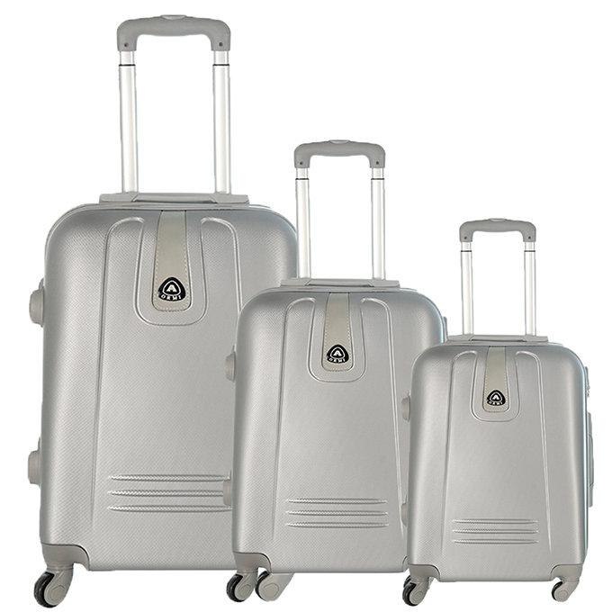Set 3 valigie in abs leggero c/4 ruote argento
