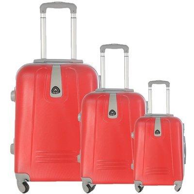 Set 3 valigie in abs leggero c/4 ruote rosso