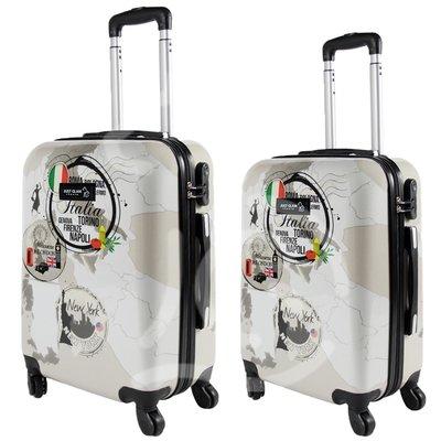 Coppia di 2 trolley da cabina mis.50 e 55 cm fantasia 3 paesi