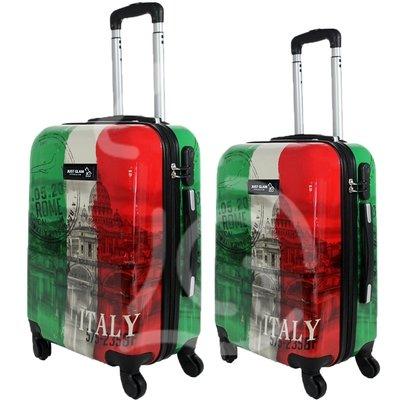 Coppia di 2 trolley da cabina mis.50 e 55 cm fantasia tricolore