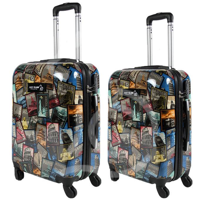 Coppia di 2 trolley da cabina mis.50 e 55 cm fantasia francobolli