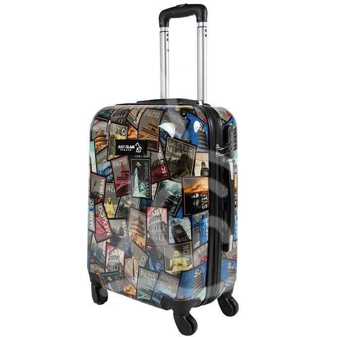 Trolley da cabina justglam ultraleggero  55cm fantasia francobolli