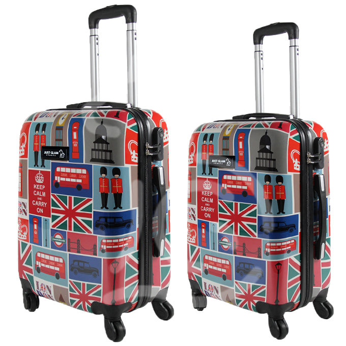 Coppia di 2 trolley da cabina mis.50 e 55 cm fantasia british general