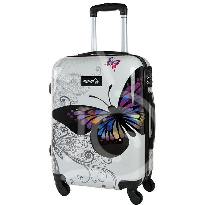 Trolley da cabina  justglam  ultraleggero  55cm fantasia farfalla