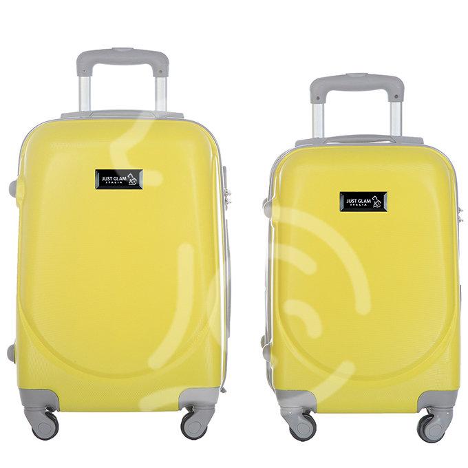 Coppia di 2 trolley da cabina mis.50 e 55 cm giallo