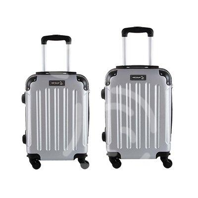 Coppia di 2 trolley da cabina mis.50 e 55 cm argento
