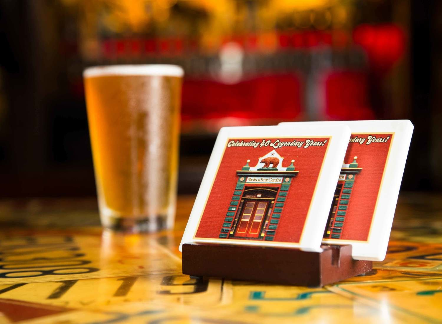 40th Anniversary Square Coaster Set With Stand