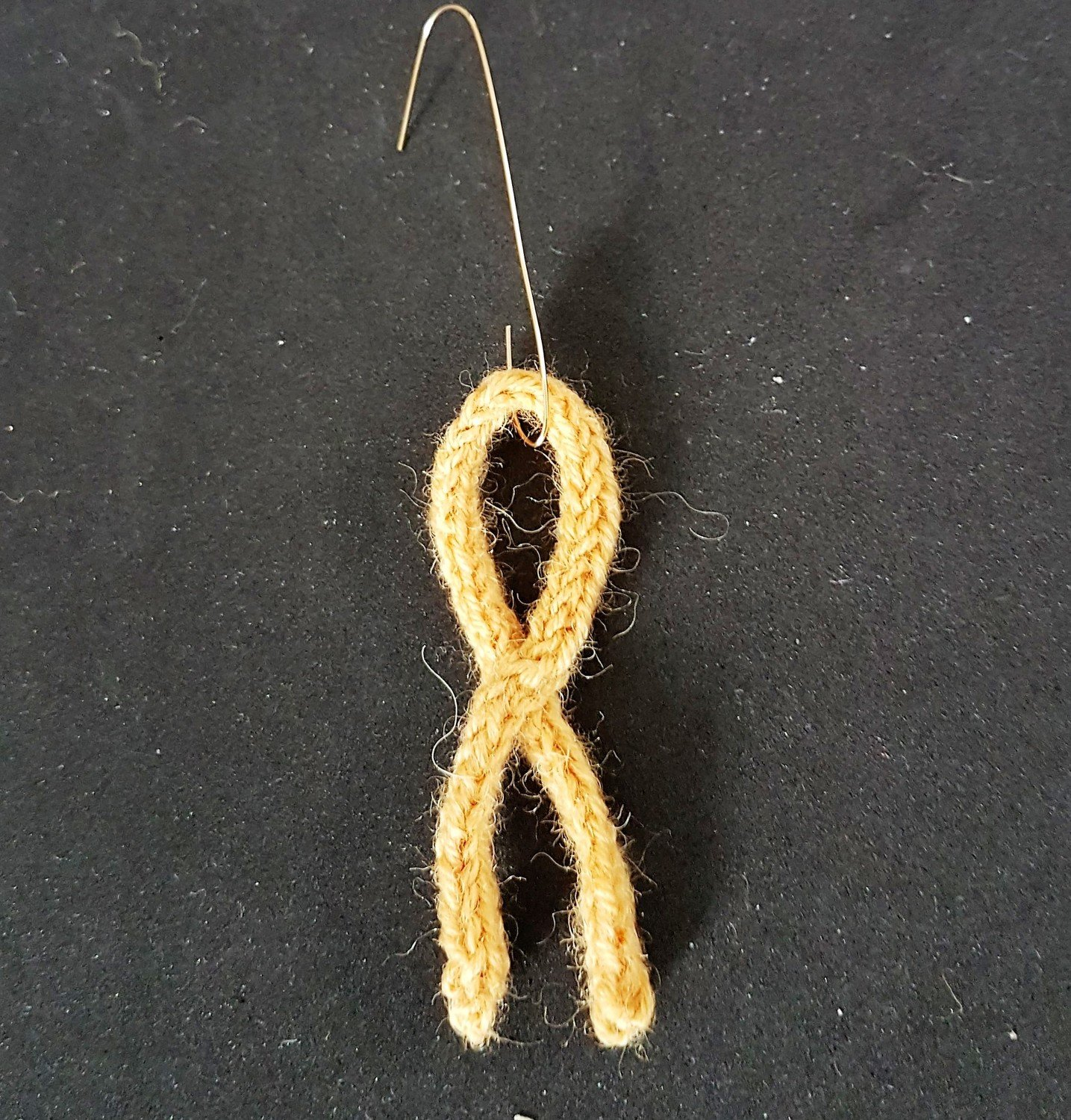 Simple knitted Gold awareness ribbon tree decoration