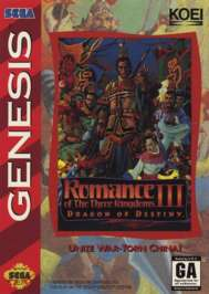Romance of the Three Kingdoms III: Dragon of Destiny - Sega Genesis - Used
