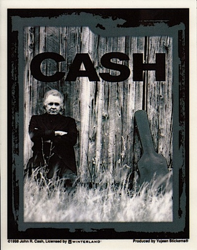 Johnny Cash Sticker - Against a Fence - New