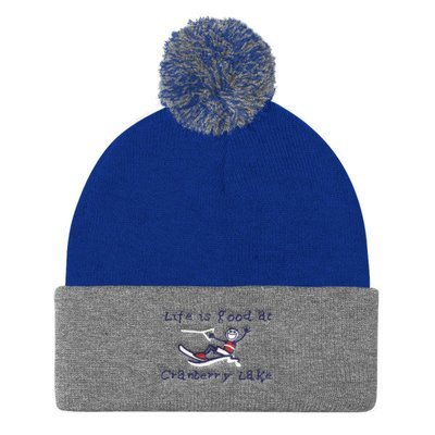 Pom Pom Knit Cap - Life is Good at Cranberry Lake