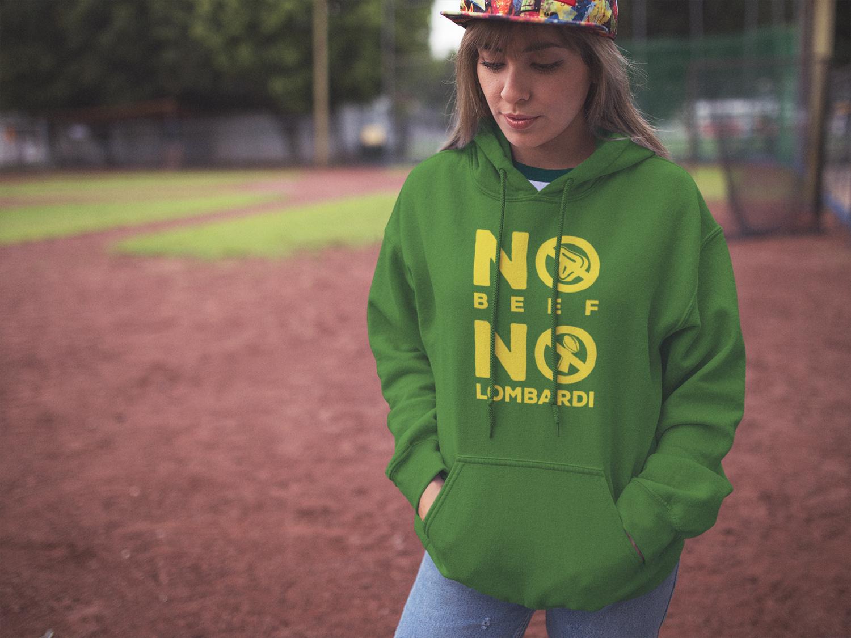 """""""No Beef No Lombardi"""" Hooded Sweatshirt: Green"""