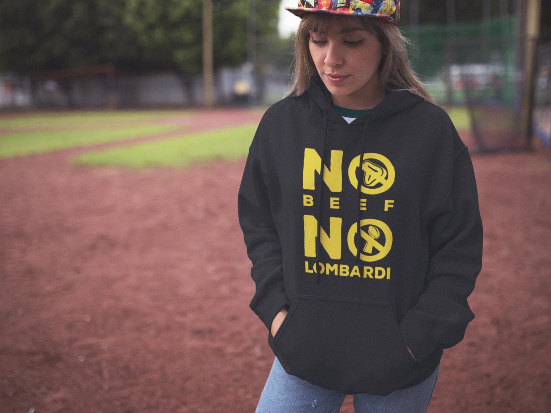 """No Beef No Lombardi"" Hooded Sweatshirt: Black"