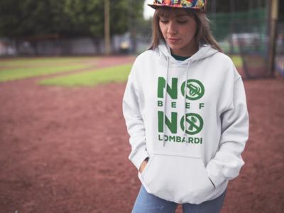 """No Beef No Lombardi"" Hooded Sweatshirt: White"