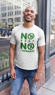 """No Beef No Lombardi"" Short-Sleeve Unisex T-Shirt:  White"