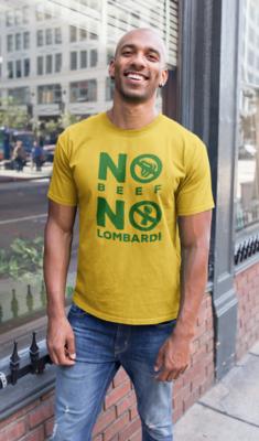 """No Beef No Lombardi"" Short-Sleeve Unisex T-Shirt: Gold"