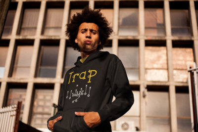 """Trap"" Hooded Sweatshirt: Black"