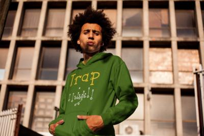 """""""Trap"""" Hooded Sweatshirt: Green"""