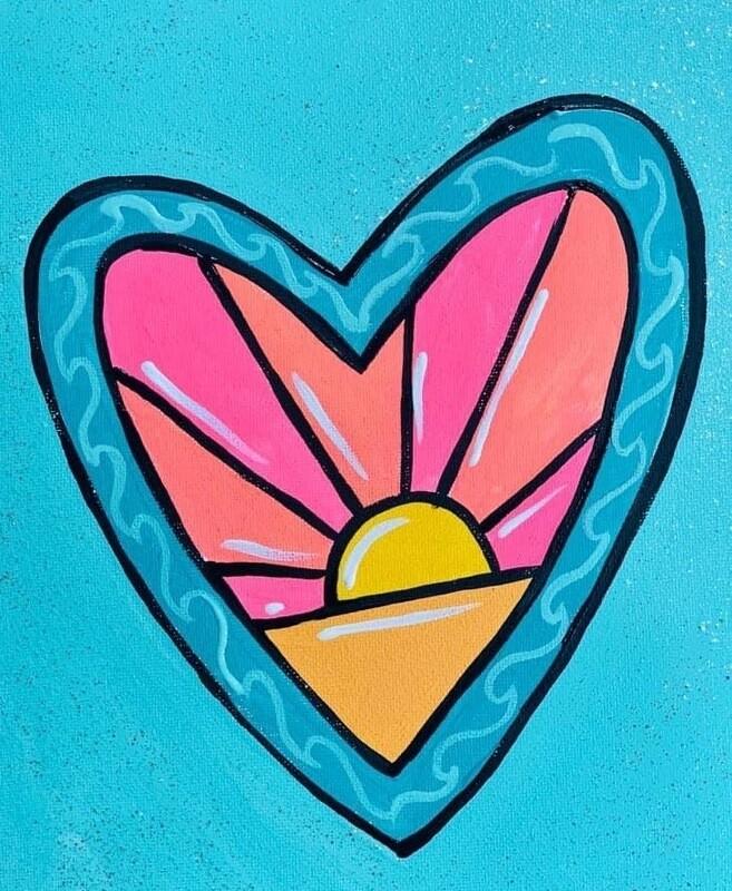 Sunset Heart Painting Kit