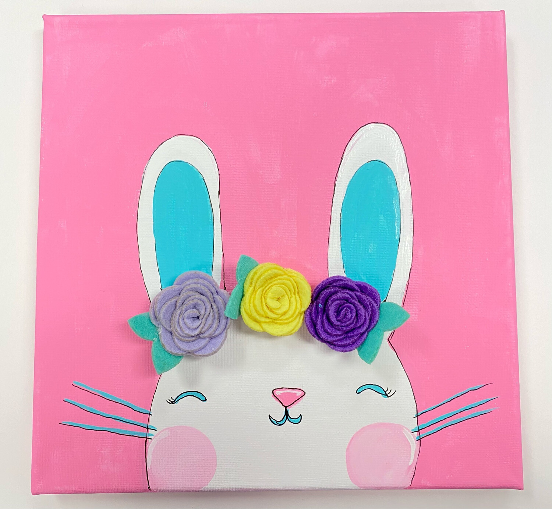 Bunny With Felt Flowers Painting Kit