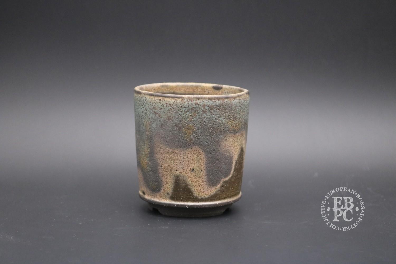 SOLD - Sabine Besnard - 8.2cm; Glazed; Green; Brown; Round; Rustic