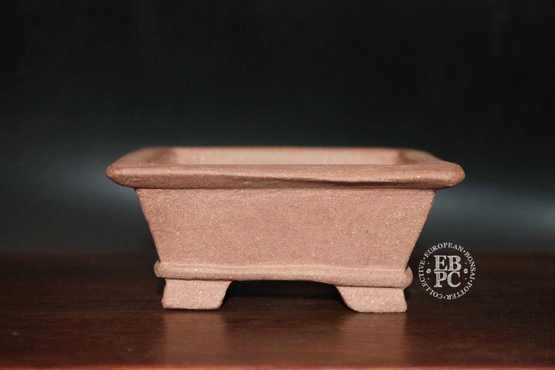 SOLD - 14.1cm; Unglazed; Carved; Shohin; Square; Guerao