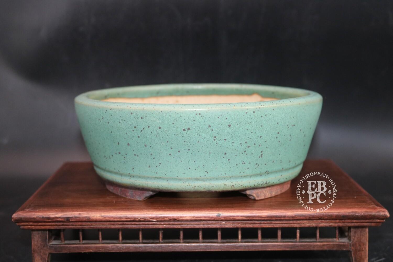 SOLD - Ian Baillie - 21.1cm; Glazed; Round; Incised basal band; Superb Thrush Egg Glaze;