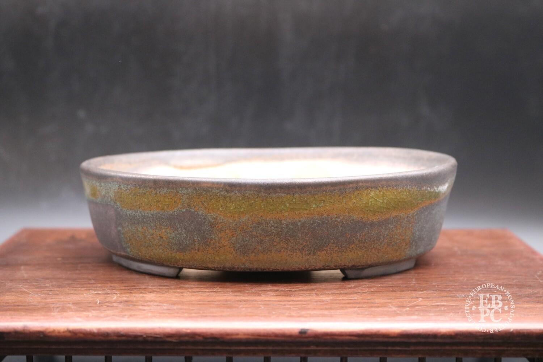 GIFTED AS RAFFLE PRIZE - SWINDON 20. - Sabine Besnard - 17.4cm; Oval; Glazed, Translucent Green; Browns; Crackle Glaze