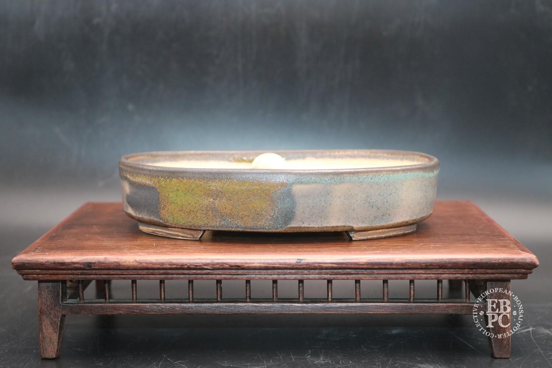 SOLD - Sabine Besnard - 18.9cm; Oval; Glazed, Translucent Green; Browns; Crackle Glaze
