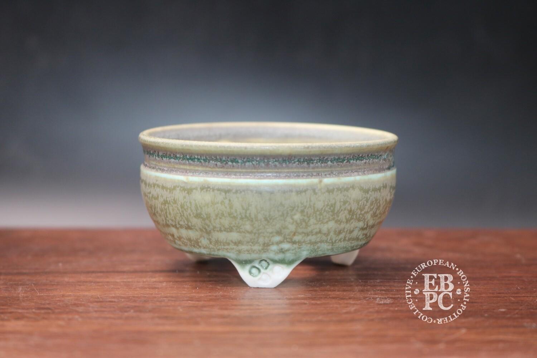 SOLD - EBL Pots - 7.6cm; Porcelain; Round; Accent pot; Pastel tones; Green; Blue; Detailed feet; Elsebeth Ludwigsen