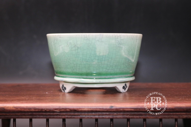 SOLD - EBL Pots - 10.6cm; Porcelain; Round; Shohin pot; Celadon Crackle glaze; Light Green; Elsebeth Ludwigsen
