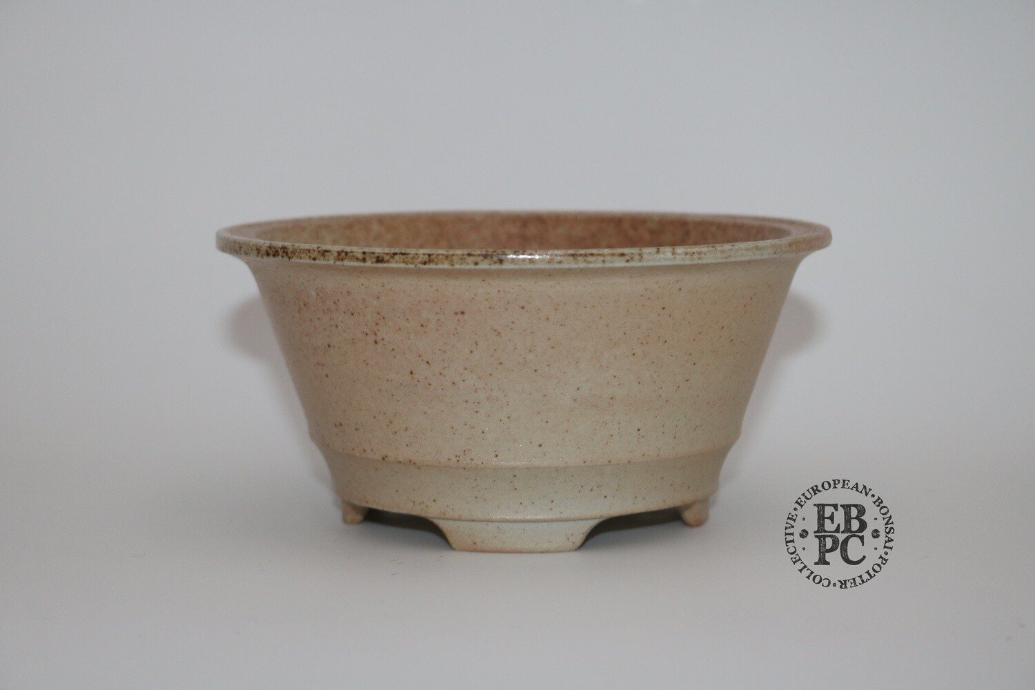 SOLD - Gramming Pots - 13.1cm; 'Supreme Simplicity; Round; Unglazed; White; Light Brown; Wood-fired; Recessed feet; Tomas Gramming