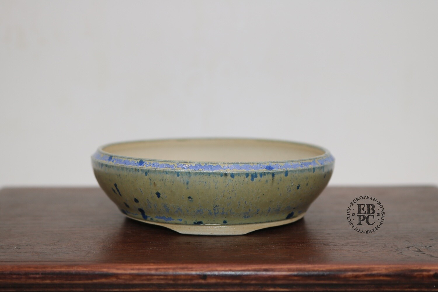 RESERVED - PAS Pots - 11.8cm  Round; Shohin / Accent pot; Hand Thrown; Stunning Blues over Cream; Detailed foot ring; Patricia