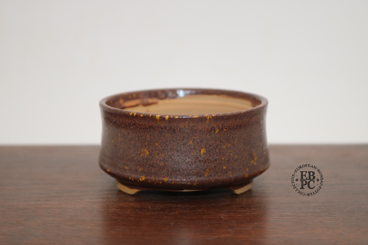 PAS Pots - 8.3cm  Round; Mame / Accent pot; Hand Thrown; Superb glaze; Browns; Hints of Orange; Detailed foot ring; Patricia