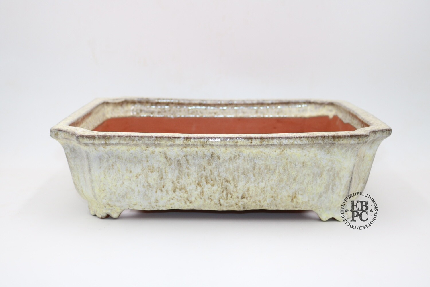 SHUHU of Tokoname -  EBPC stamped pot; 40cm; Rectangle; Curve Cut Corners; Intricate Drippy Glaze; White, Greens & Browns; 'Honorary European'; Limited Edn; Signed and EBPC Stamped.